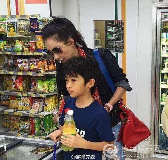 张柏芝带两个儿子逛超市 萌娃实在太呆萌